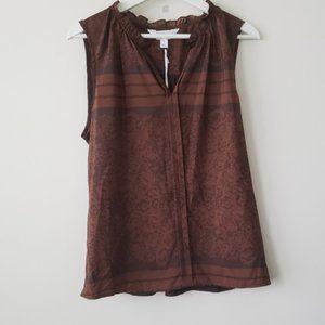 Brown Print Sleeveless Ruffle Neck NWT Top